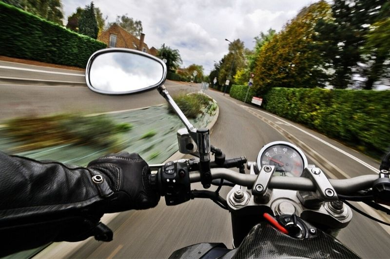 A person riding a motorcycle.