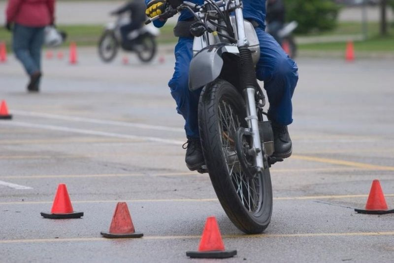 A motorcycle rider taking the MSF course.