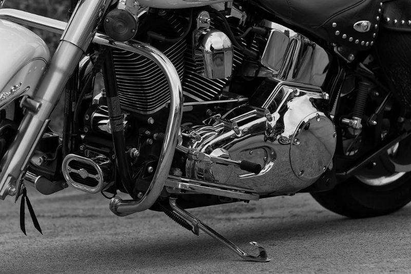 A motorcycle left on its kickstand.