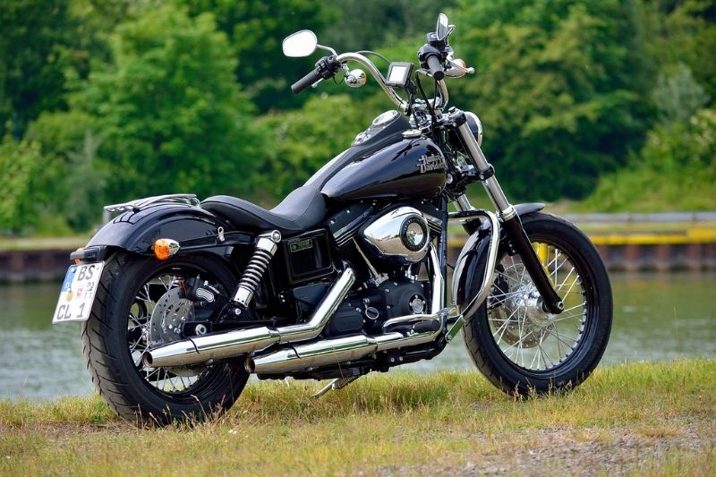 A parked Harley Davidson motorcycle.