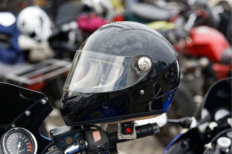 A close up picture of a motorcycle helmet.