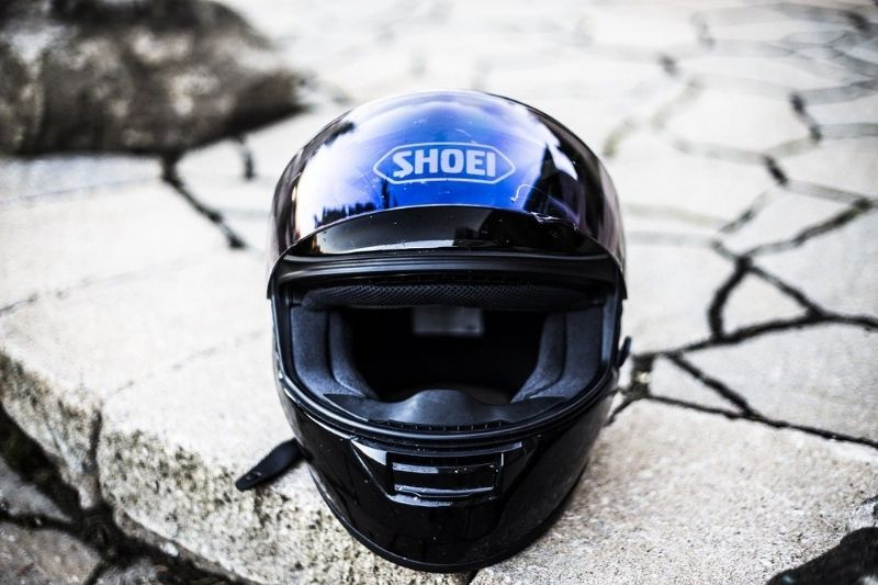 A close-up of an expensive motorcycle helmet