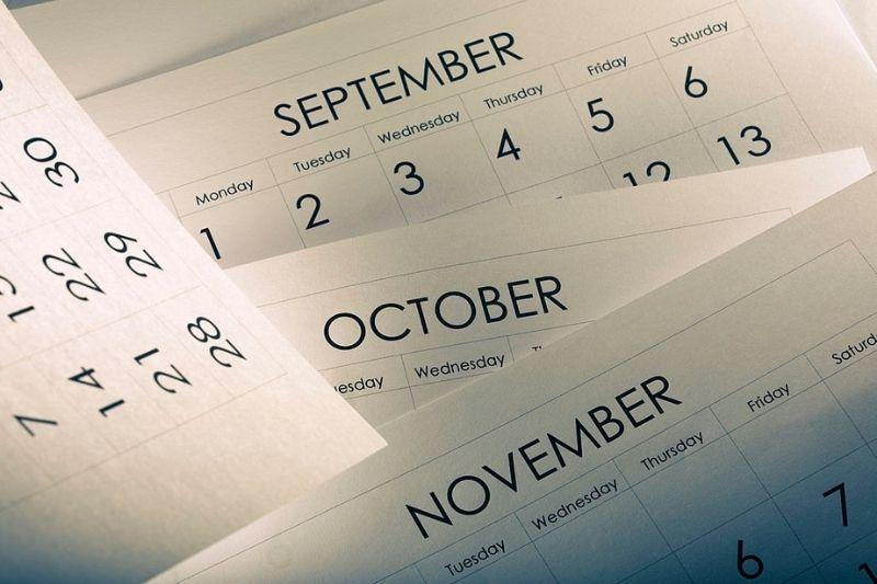 Calendar displaying different months.